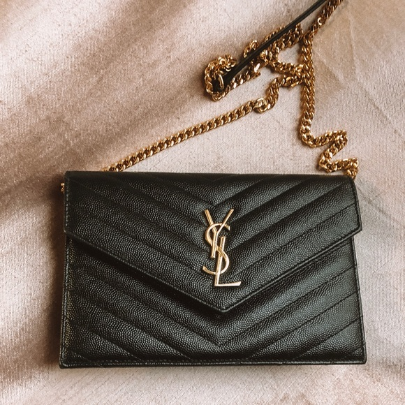 806c7bf4c5 YSL ENVELOPE CHAIN WALLET IN EMBOSSED LEATHER. M_5c4cd5617386bc21457c9ecd